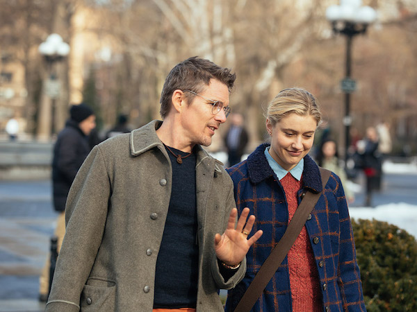 Maggie's Plan Movie Review Ethan Hawke and Greta Gerwig walking through Central Park