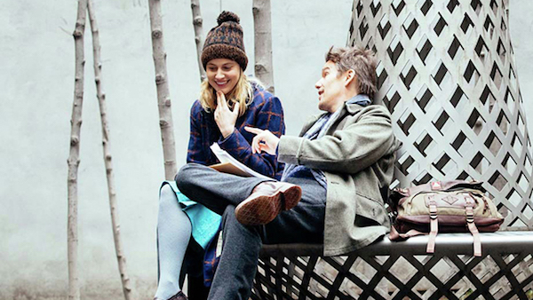 Maggie's Plan Review Methods Unsound Greta Gerwig and Ethan Hawke sitting on a metal bench in Maggie's Plan Film
