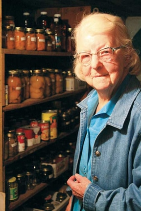 Helen Krinke, 96, in her much-utilized root cellar. Photo by Marcy Stamper