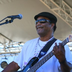 Chuck Bush, one of the Zydeco Playboys backing up Rosie Ledet, got the audience swaying to the sultry New Orleans beat. Photo by Marcy Stamper