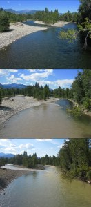 Monday, Aug. 5: Looking upriver at the Methow River/Chewuch River confluence from the pedestrian bridge in Winthrop. From top to bottom, the rivers at 10 a.m., then at 2 p.m. after the silt from Sunday night's storm in the high country made its way to town, then again at 5 p.m. after the Methow River began to clear while the Chewuch turned a yellow-green color. Photos by Jason Paulsen