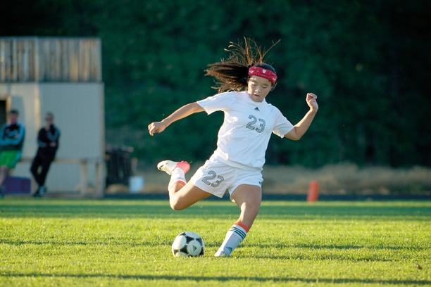 Freshman midfielder Mia Kennedy shows the form that accounted for two of four Liberty Bell goals against Omak last week. Photo by E.A. Weymuller