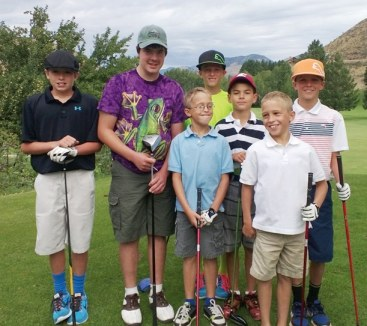 Players from Bear Creek and Alta Lake who participated in the nine-hole tournament at Bear Creek last week include, from left, Logan McGire, Fallon Huston, Carter Sheley, Kelson Gebbers, David Kominak, Graham Sheley and Cade Gebbers. Photo courtesy of Jill Sheley