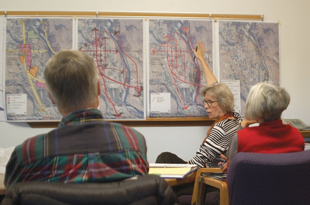 Consultant Connie Reckord briefs the Twisp Planning Commission on aspects of the town's proposed riverfront trail system. Photo by Ann McCreary