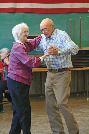 Ann Anderson of Omak and Eary Hawkins of Riverside are regulars at the Methow Valley Senior Center's monthly dance. Photo by Marcy Stamper