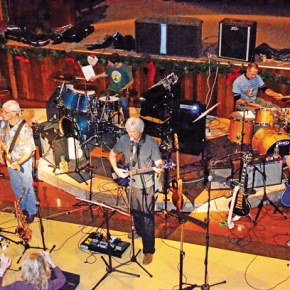 Core members of the band include from left Linda Beebe, Morgan Smith, Mike Doran, Frank Vander Wall, Peter Eckmann and Doug Wolfe. Local band members not pictured are Randy MacGregor and Jeff Ulmer.