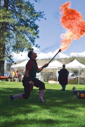 L-Bow the Clown heated things up at the Winthrop Park during Pridefest. Photo by Laurelle Walsh