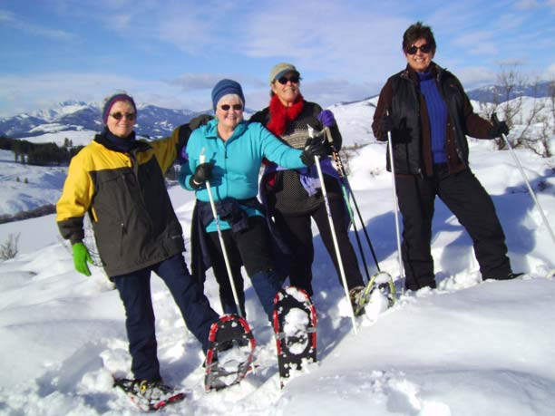 Among the exercises and activities enjoyed throughout the year by the local TOPS (Take Off Pounds Sensibly) chapter is winter snowshoeing. Sharleen Hoveskeland, left, Linda Cornish, Marilyn Sabold and Donna Stoothoff stop for a photo atop Pearrygin Lake State Park on a recent outing. TOPS meets at 8:30 a.m. every Tuesday at the United Methodist Church, 193B Old Twisp Highway. Photo courtesy of Sara Hartzell