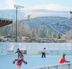 Twenty-eight lights illuminate the Winthrop Ice & Sports Rink, but they are rarely used all at once. File photo by Don Nelson
