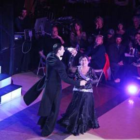 """Local woman, Rayma Hayes, performs a waltz to the tune of """"So This Is Love"""" with Andrew Blackburne of the Utah Ballroom Dance Company at the Dancing with (Your) Stars event sponsored by Methow Arts on Saturday, March 8. Photo by Marcy Stamper"""