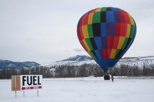 If one didn't know better, it might seem as if this balloon had simply stopped for a refueling. Photo by Darla Hussey