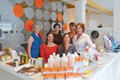 The staff at Nectar Skin Bar—Dana Stromberger, Beau Bourn, Jessica da Costa, Arijana Moon, Heidi Sullivan and owner Leslie Lanthorn—are enjoying the new skin care studio in downtown Winthrop. Photo by Laurelle Walsh