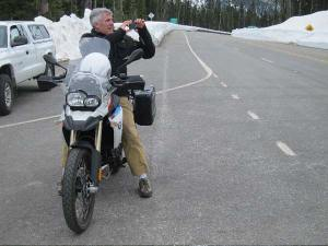 Rick LeDuc, co-owner of the Mazama Store, rode his motorcycle up to   Washington Pass to take a few shots. Photo by Don Nelson