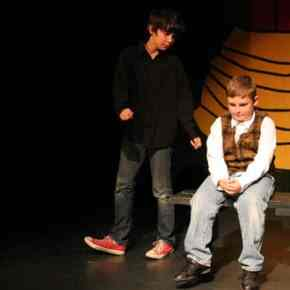 Charlie (Myles Davis) encourages his father to think positive. Photo by Darla Hussey