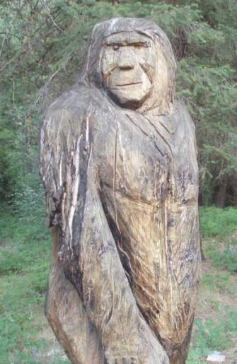 The carved Sasquatch on the South Fork of Gold Creek survived the fires in that area. Photo by Joanna Bastian