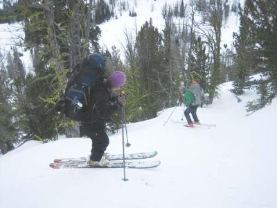 Photo courtesy of Dwight Filer JoAnn Metzler and Sam Greebowich on a ski trip into the Sawtooths.