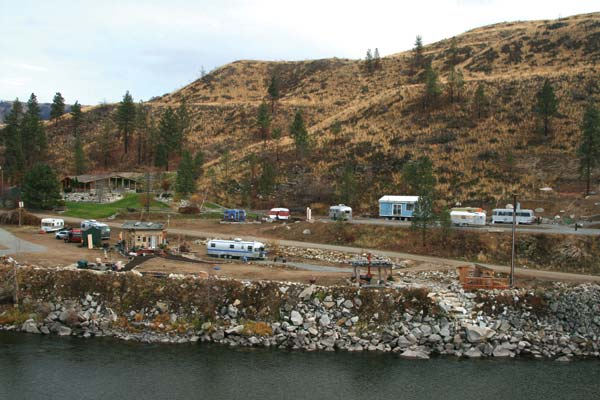 File photo by Marcy Stamper Mele has been working on her vision for an RV park with decorated trailers near Methow since last year. Some of these trailers may have been swapped out or moved since this photo was taken in November of 2015.