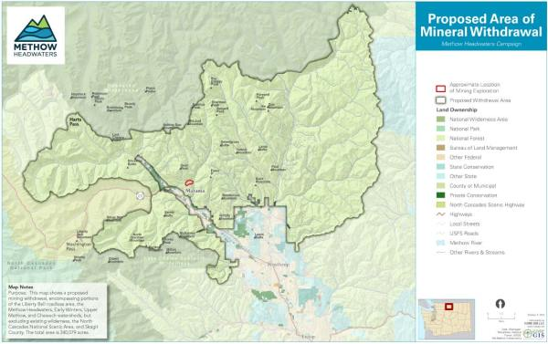 Map courtesy of Methow Headwaters Campaign About 340,000 acres of national forest lands would be protected from mineral exploration and mining in the future.