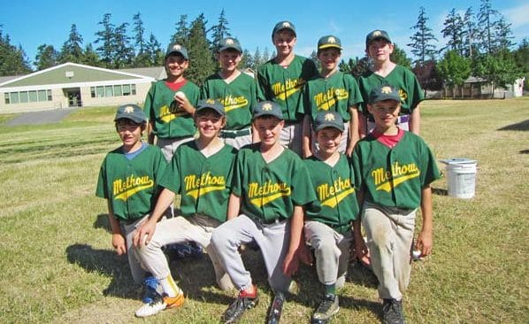 Photo courtesy of John Crandall Methow Valley U12 baseball team members are, back row from left, David Kominak, Riley Lidey, Wesley Dietz, Sawyer Crandall and Zach Strome; and front row from left, Eli Neitlich, Grey Patterson, Eamon Monahan, Dominic Priest and Noah Holsten. The team was coached by Peter Neitlich, John Crandall and Greg Strome.