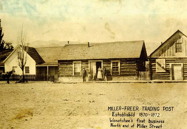 Photo courtesy of Wenatchee Valley Museum The original site of the Miller-Freer Trading Post is near the radio towers on the Haran Nature Trail. The trading post was moved to the Historic Museum and Pioneer Village in Cashmere.