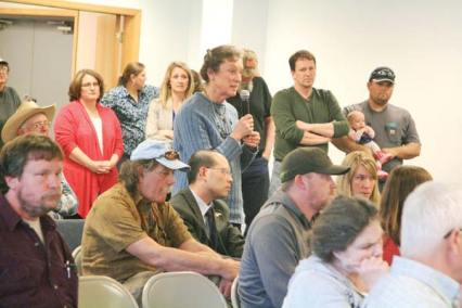 Photo by Marcy Stamper Okanogan County residents pressed government officials for better forest management — and more local control — to reduce fire risk.