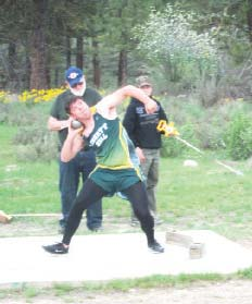 Photo by Don NelsonZane Herrera was fourth in the shot put.