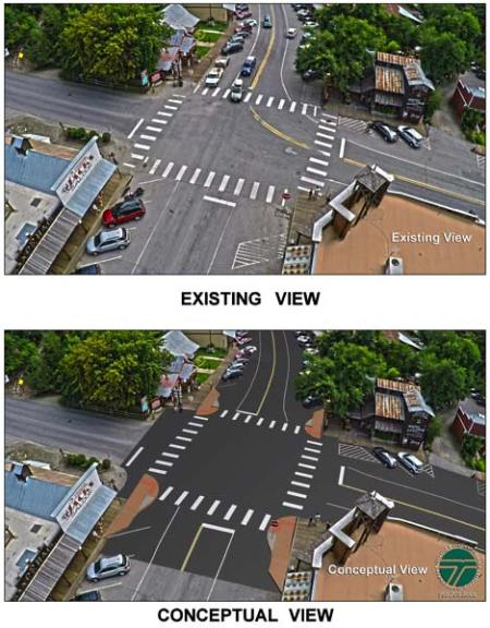 Graphic provided by Washington State Department of Transportation The four-way intersection in Winthrop as it exists now is shown at top, and the proposed accessible ramp design presented last week by Washington State Department of Transportation is shown at bottom. Engineers said they plan to revise the final design to reduce the size of some of the ramps.