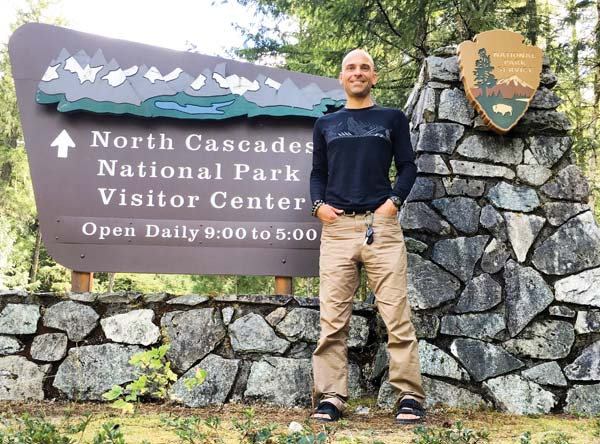 Photo courtesy of Bill Sycalik Before running his marathon in North Cascades National Park, Bill Sycalik stopped at the visitors' center for route information.
