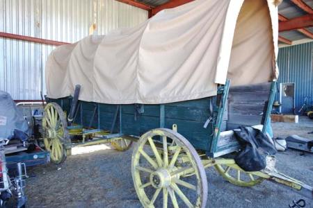Photo courtesy of Winthrop Chamber of Commerce This vintage covered wagon will be placed at the east entrance of Winthrop to welcome visitors.