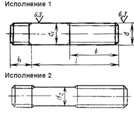 Шпильки с ввинчиваемым концом ГОСТ 22032-76, ГОСТ 22033-76, ГОСТ 22034-76, DIN 938