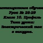 Дистанционное обучение. Урок № 28-29. Класс 10. Профиль. Тема урока: Электрический ток в вакууме