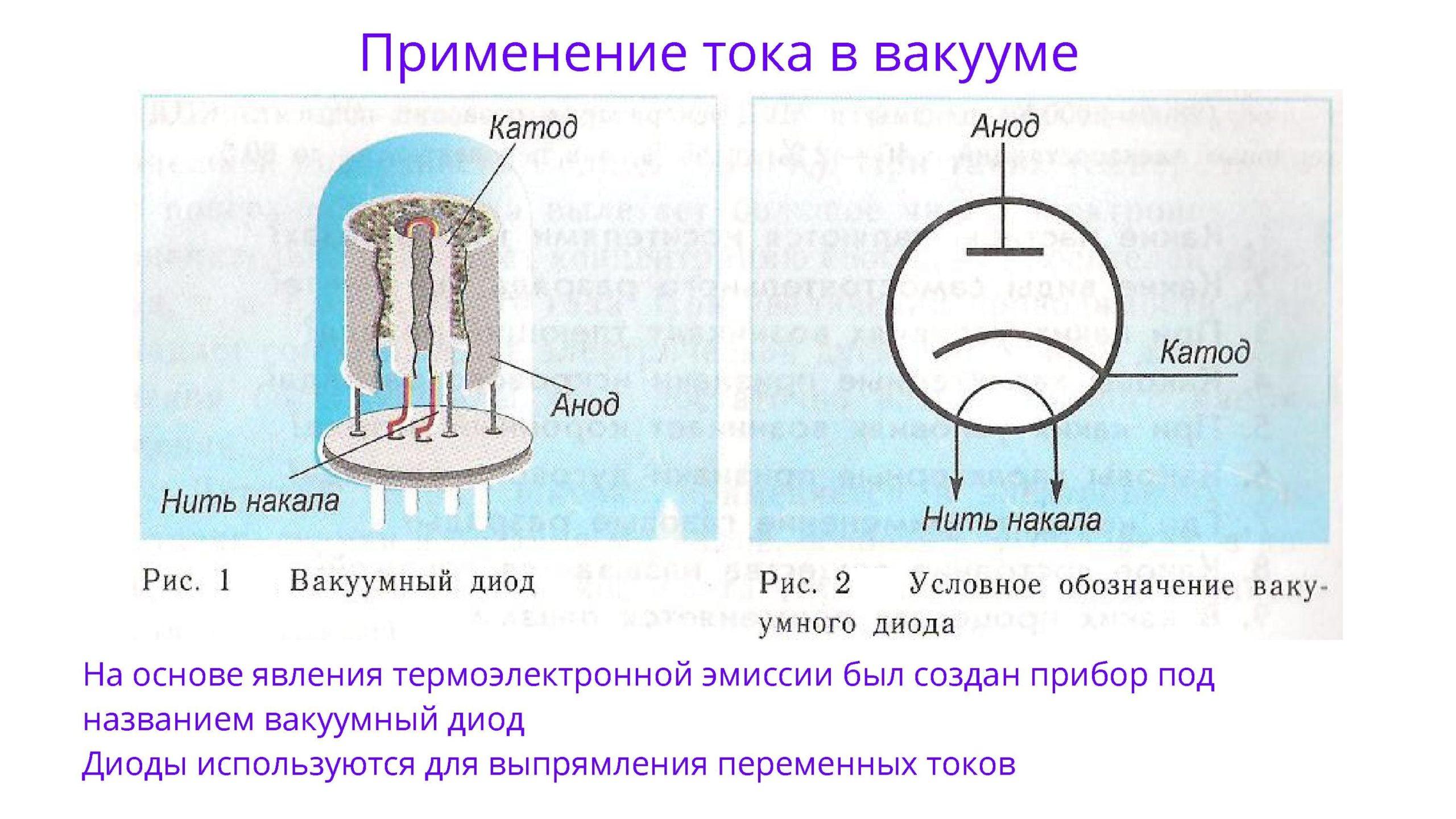 Применение тока в вакууме