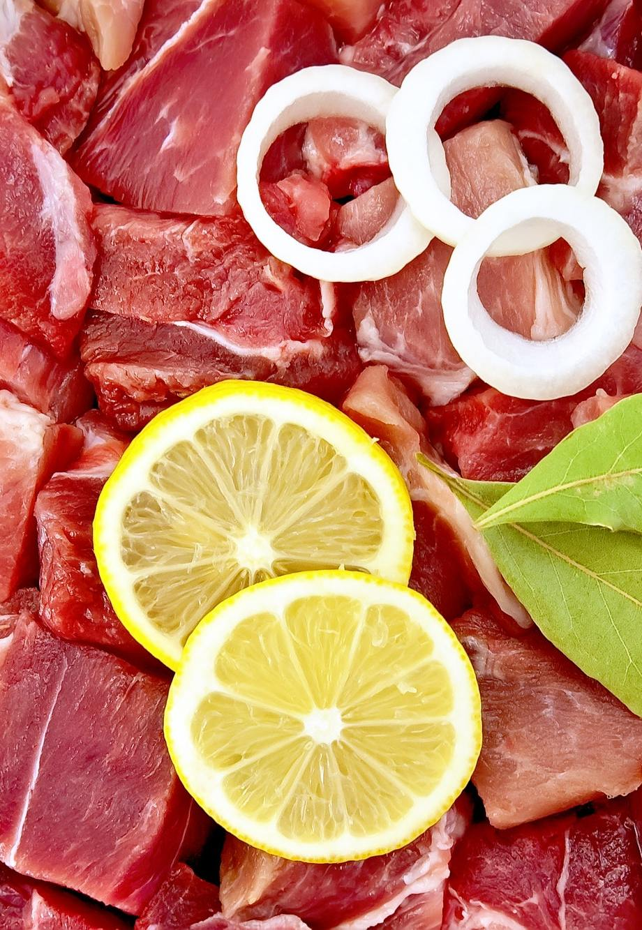 Meat with onion and lemon texture