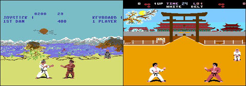 The Way of the Exploding Fist a la izquierda e International Karate. Busca las diferencias.