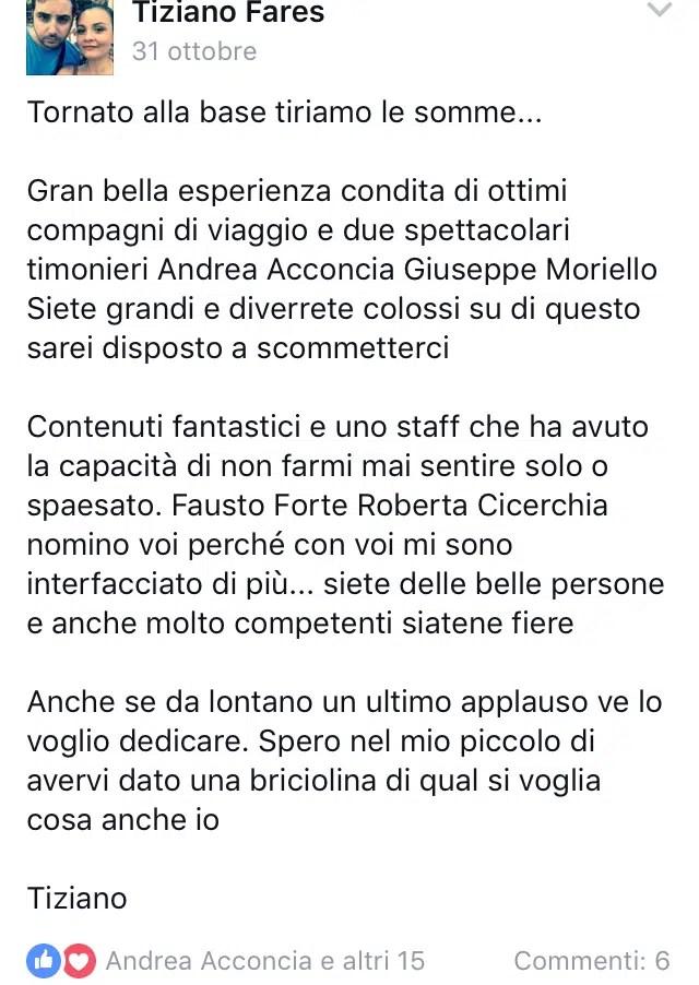 Tiziano Fares - Testimonianze