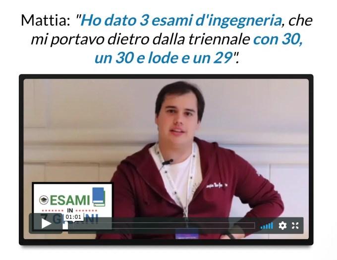 Testimonianze Esami in 7 Giorni Mattia Ingegneria
