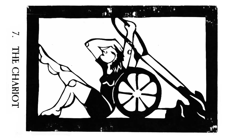 Black and white papercut horizontal tarot card of someone with muscular calves seated and pulling a wheeled cart from behind them.