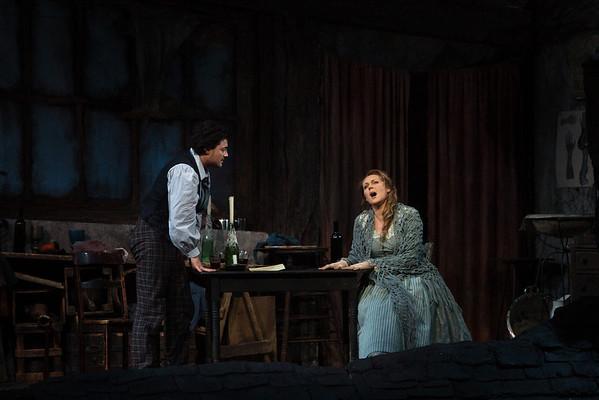 """Vittorio Grigolo as Rodolfo and Kristine Opolais as Mimì in Puccini's """"La Bohème"""" at the Metropolitan Opera on April 5, 2014. Photo: Marty Sohl/Metropolitan Opera"""