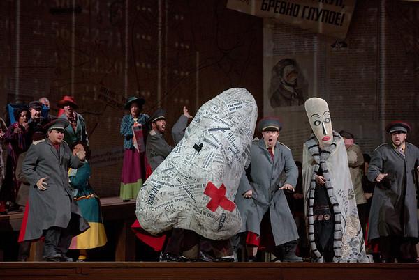 "A scene of Shostakovich's ""The Nose"" with the title character (actor Frank Colardo). Photo: Ken Howard/Metropolitan Opera Taken at the Metropolitan Opera on September 14, 2013."