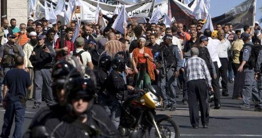 """مظاهرة شارك فيها حوالي 1,500 شخص في 6/11/2008 رفضاً لقرار """"المحكمة العليا"""" الصهيونية السماح ببناء متحف التسامح"""