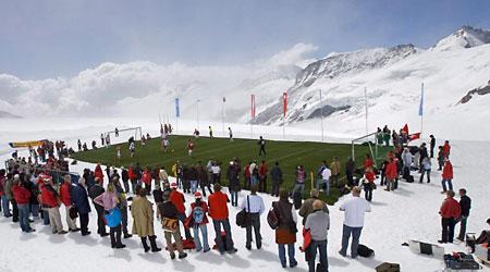 Football on a glacier