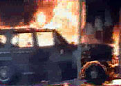 Burning Jeep Glagow Airport