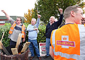 Postal workers in strike action