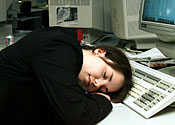 Sleeping office girl