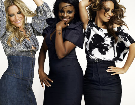 Keisha, centre, with Heidi Range, left, and Amelle Berrabah