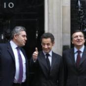 Brown meets Sarkozy and Barroso