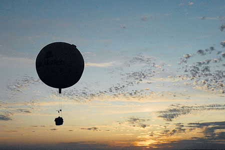 Heading into the record books: David Hemple-man Adams flying the CMC Markets Challenger balloon