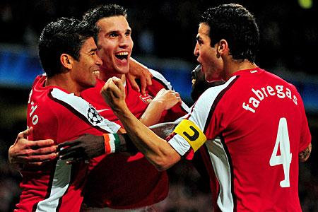 Arsenal Olympiakos celebration