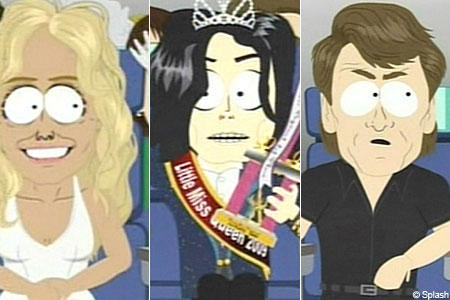 Farrah Fawcett, Jacko and Patrick Swayze in their South Park reincanations