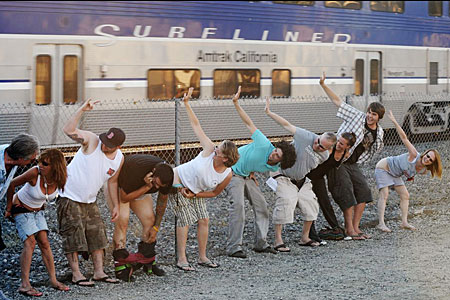 Here is a picture of what lots of people mooning a train looks like (in this case, in Los Angeles)